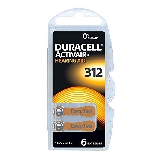 Duracell/ACTIVAIR DA312 Hörgeräte-Knopfzellen in 6er-Blister 1,45V 180mAh