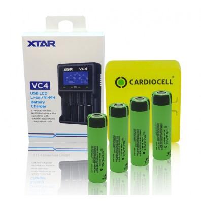 XTAR - Ladegerät VC4, Li-Ion / Ni-MH LCD inkl. 4x Panasonic NCR18650B mit Akkubox von CardioCell