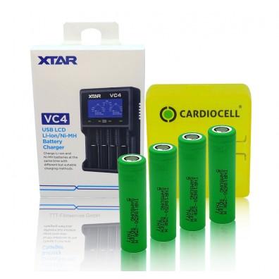 XTAR - Ladegerät VC4, Li-Ion / Ni-MH LCD inkl. 4x Samsung INR18650-25R mit Akkubox von Cardiocell