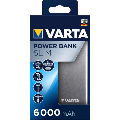 Varta - Slim Power Bank 6000mAh Li-Pol 57965 mit Micro USB Kabel