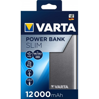 Varta - Slim Power Bank 12000mAh Li-Pol 57966 mit USB Kabel