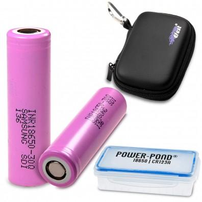 """Samsung - INR18650-30Q 3000mAh 3,6V - 3,7V 15A Li-Ion Akku – 2 Stück  inkl. Akkubox """"POWER-POND"""" & Efest Tasche"""