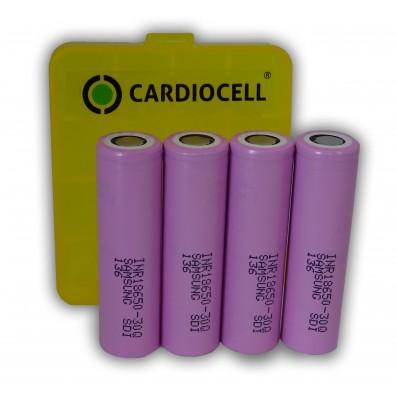 4x Samsung INR18650-30Q 3,6V 3000mAh, Lithium Ionen Akku inkl. Cardiocell Box