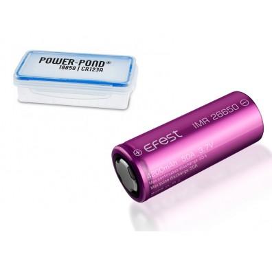 """Efest – IMR26650 4200mAh 3,6V – 3,7V 18A Li-Ionen Akku  - 1 Stück inkl. Akkubox """"POWER-POND"""""""