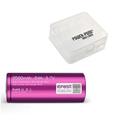 1x EFEST 26650 Hochleistungsakku 3,7V, flat 3500mAh 64A inkl. POWER-POND Akku Aufbewahrungsbox