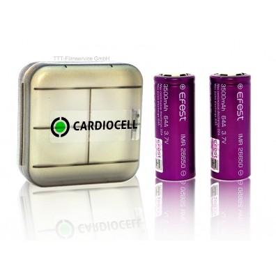 2x EFEST 26650 3,7V, flat 3500mAh 64A inkl. Cardiocell Aufbewahrungsbox