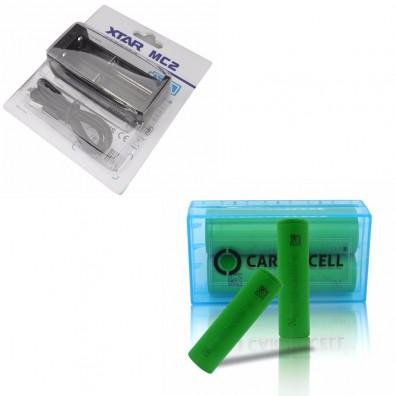 XTAR - Ladegerät MC2 Plus inkl. 2x Sony US18650VTC6 30A 3120mAh und CardioCell Akkubox