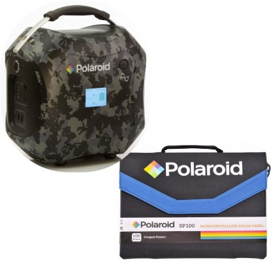 Set Polaroid Portable Power System PS600 camouflage + Solar Panel SP100 World Wide Edition