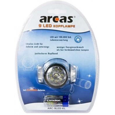Arcas 9 LED Kopflampe inkl. 3xAAA