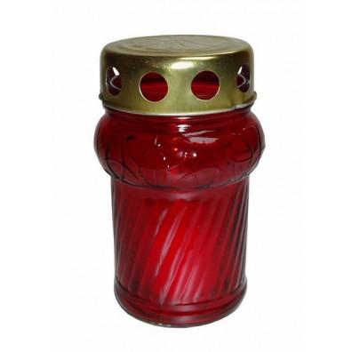 Glasgrablicht GL19 rot mit Paraffinkerze