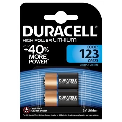 2 x Duracell DL123 CR17345 CR123 Lithium Photo Batterie 3V im Blister