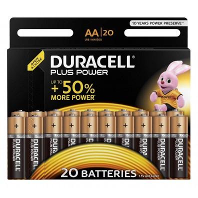 20 x Duracell Plus Power AA Alkaline Mignon LR6 MN1500 Batterie 1,5V - 1 Blister