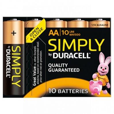 Duracell – Simply AA MN1500 Mignon LR6 1,5V Alkaline Batterie – 10er Box