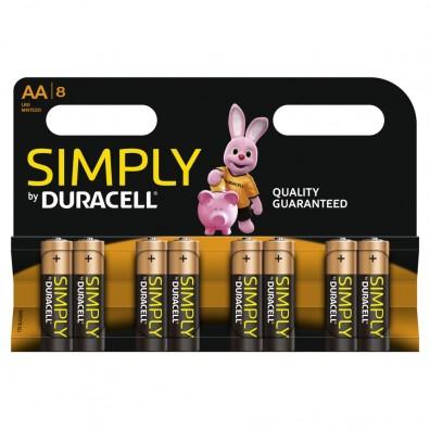 Duracell – Simply AA MN1500 Mignon LR6 1,5V Alkaline Batterie – 8ter Blister
