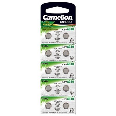 Camelion – AG10 LR54 LR1130 1,5V Alkaline Knopfzelle – 10er Blister