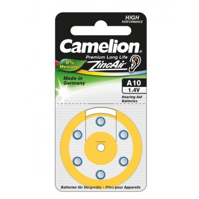 "Camelion A10 Hörgeräteknopfzellen in 6er-Blister ""No Mercury"""