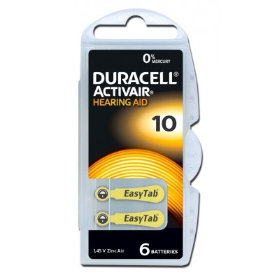 Duracell/ACTIVAIR DA10 Hörgeräte-Knopfzellen in 6er-Blister 1,45V 100mAh