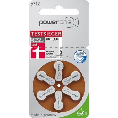 POWER ONE 312AE Hörgeräte-Knopfzellen  170mAh