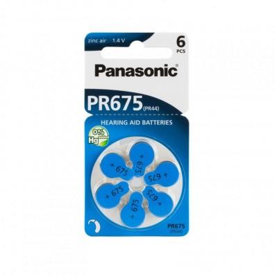 Panasonic PR675 (PR44) Hörgeräte-Knopfzellen 650 mAh 1,4V im 6er-Blister