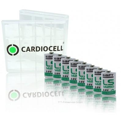 8 x Saft Lithium Batterie 1/2 AA Mignon LS 14250 3,6V 1200mAh mit CardioCell Box