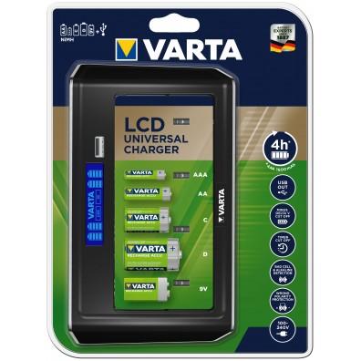 Varta - LCD Universal Charger 57678 - für alle Baugrößen AA/AAA/Baby C/Mono D/9V Block