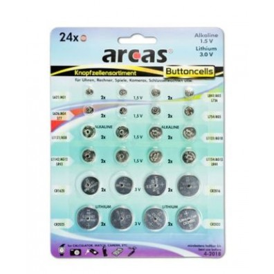 Arcas – Knopfzelen Sortiment mit Alkaline und Lithium Batterien – 24telig
