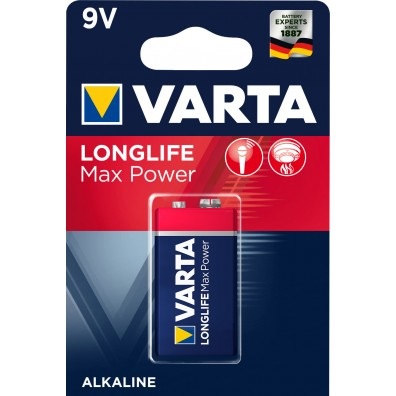 Varta – Longlife Max Power 4722 9V Block 6LR22 Alkaline Batterie – 1er Blister