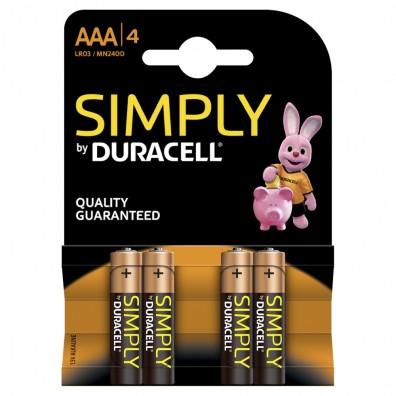 Duracell – Simply AAA Micro MN2400 LR03 1,5V Alkaline Batterie – 4er Blister