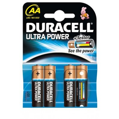 Duracell – Ultra Power AA MX1500 Mignon LR6 1,5V Alkaline Batterie – 4er Blister