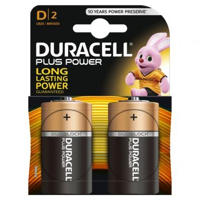 Duracell – Plus Power Mono D  MN1300 LR20 1,5V Alkaline Batterie – 2er Blister