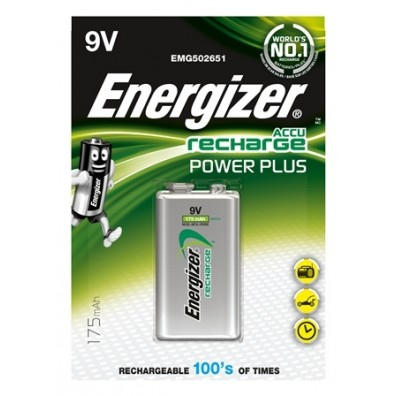 Energizer – Power Plus 9V Block 6HR61 175mAh 8,4V NiMH Akku - 1er Blister