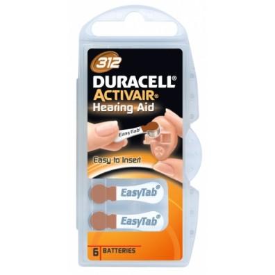 Duracell – ActivAir Typ 312 Braun PR41 Hörgerätbatterien – 6er Blister