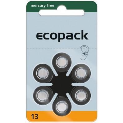 Ecopak – Typ 13 Orange PR48 Hörgerätbatterien – 6er Blister