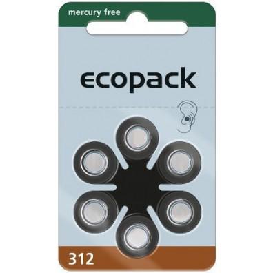 Ecopak – Typ 312 Braun PR41 Hörgerätbatterien – 6er Blister