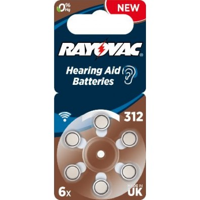 Rayovac – Acoustic Typ 312 Braun PR41 Hörgerätbatterien – 6er Blister