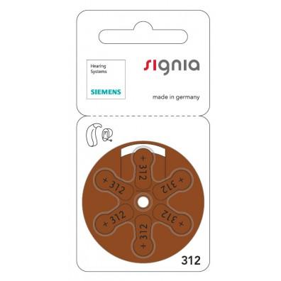 Siemens Signia – Typ 312 Braun PR41 Hörgerätbatterien – 6er Blister