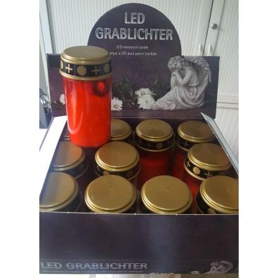 LED-Grablicht rot mit flackerndem Kerzenschein inkl. Batterien (2xAA) im 12er-Display