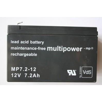 Multipower - MP7,2-12 Bleiakku 12V 7,2Ah m. 4,8 mm Faston - VdS Zulassung