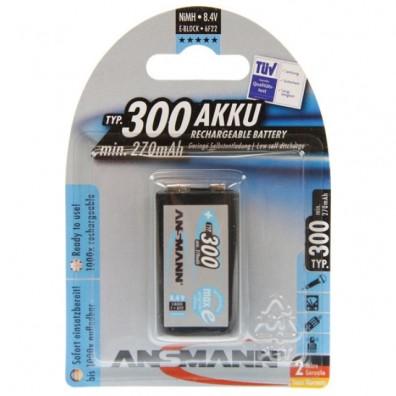 Ansmann - max EPlus 9V Block 6HR61 300mAh (min. 270mAh) 8,4V NiMH Akku - 1er Blister