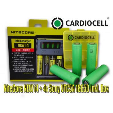 NiteCore – NEW i4 + 4x Sony US18650VTC5A Akku inkl. Cardiocell Box