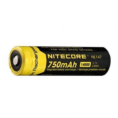 NiteCore- NL 147 14500 750mAh 3,7V 4A Li-Ion Akku - 1 Stück