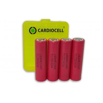 LG - ICR 18650-HE2 2500mAh 3,6V-3,7V 20A Li-Ion Akku – 4 Stück inkl. CardioCell Box