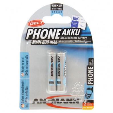 Ansmann – Phone DECT AAA HR03 800mAh 1,2V NiMH Akku – 2er Blister