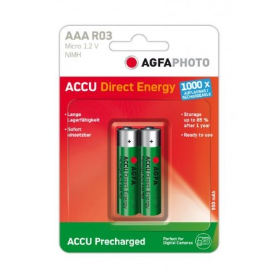 AgFA Photo – Direct Energy AAA HR03 950mAh 1,2V NiMH Akku – 2er Blister
