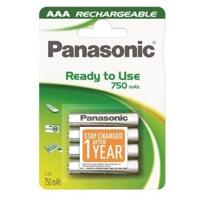 Panasonic – ready to use AAA 750mAh 1,2V NiMH Akku – 4er Blister