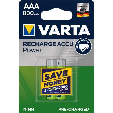 Varta – Recharge Accu 56703 AAA 800mAh 1,2V NiMH Akku – 2er Blister