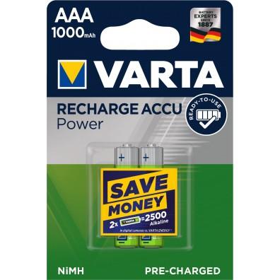 Varta – Recharge Accu 5703 AAA HR03 1000mAh 1,2V NiMH Akku – 2er Blister