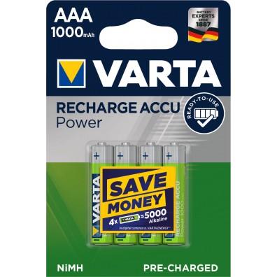 Varta – Recharge Accu 5703 AAA HR03 1000mAh 1,2V NiMH Akku – 4er Blister