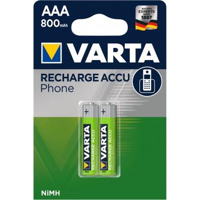 Varta – Phone Accu T398 AAA HR03 800mAh 1,2V NiMH Akku – 2er Blister