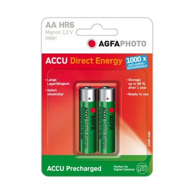 AgFA Photo – Direct Energy AA HR6 2100mAh 1,2V NiMH Akku – 2er Blister